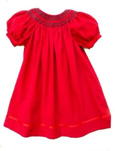 Girls Simply Smock Red Smocked Holiday Picture Portrait Dress 18 mos Church