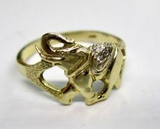 14K Yellow Gold RING Elephant and Diamond size 6.75 Good Luck Casino Gambling