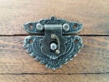 NEW Lock clasp closer latch hasp ornate c/w screws antique bronze finish C110