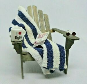 1:12 scale dollhouse miniature Beach House Adirondack Chair Sunglasses Towel Mug