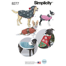 Simplicity 8277 Fleece Dog Coats and Hats in Three Sizes Sewing Pattern, New