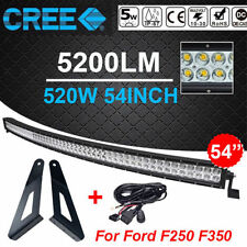 54inch Curved 520W CREE LED Light Bar + Mounting Brackets For Ford F250 F350