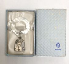 Vintage WEB Birth Record Baby Rattle Teething Ring  Silver/ / Original Box