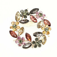 Betsey Johnson Crystal Rhinestone Garland Flowers Beauty Brooch Pin Jewelry Gift