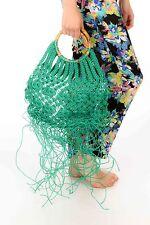 Oversized vintage Green tassled crochet tote/shopper 40s 50s bamboo handle tiki