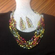 KALEIDOSCOPE Ladder Ribbon Trellis Necklace Yarn Hand Crochet + EARRINGS