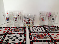 Vintage Poker Card Theme Drinking Glasses Ice Bucket Place Mats