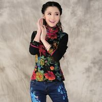 Retro Women Chinese Vintage Mandarin Collar T-shirt  Flower Printed Blouse Tops