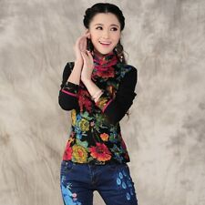 Ladies Chinese Style Retro Mandarin Collar T-shirts Floral Printed Blouses Tops