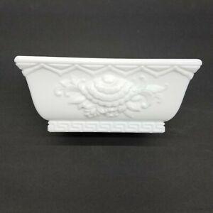 Fenton Gift Shop White Milk Glass Chrysanthemum Greek Key Planter bowl vintage