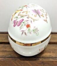 Butterfly Egg Shaped Large Trinket Bowl Dish Avon 1974 22K Gold Trim Porcelain