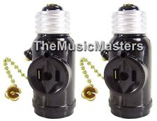 2X Lamp Socket Converter with 2 AC Outlets Bulb Holder & Pull Chain Switch BROWN