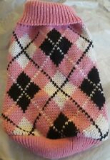 DOG/CAT Pink &Black Argyle sweater-Size Small- Soft cotton knit -GLOBAL Ship