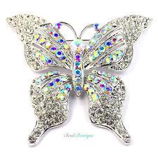 Silver & AB Rainbow Crystal Diamante Large Butterfly Wedding Party Broach Brooch