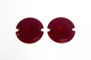 Pair Glass Tail Light Lamp Lenses For 1933-36 Ford