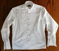 """Wing collar mens dress shirt size 16"""" Moss Bros vintage 1980s Pleated front"""