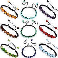 7 Chakra Bracelet Crystal Gemstone Jewellery Healing Stone Shamballa Reiki Gift