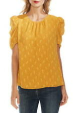 Vince Camuto Women's Crew Neck Short Sleeve Paisley Puff Shoulder Top (Yellow S)
