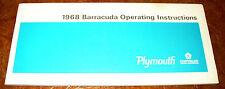 1968 68 Plymouth Barracuda Cuda Owners Owner Manual Near MINT Original
