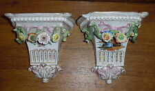2 Antique Dresden Watteau Porcelain Wall Bracket Shelves Shelf - Damaged As Is