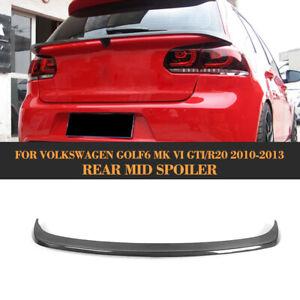 Carbon Fiber Rear Middle Spoiler Boot Wing For VW Golf 6 VI MK6 GTI R20 2010-13