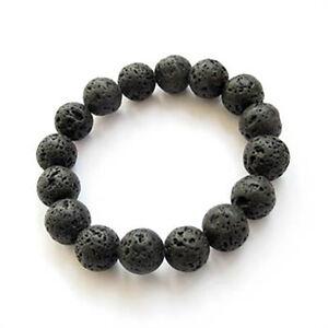 10mm Black Rock Lava Stone Round Gemstone Beads Elastic Bracelet 7.5''