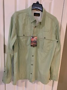 """ORVIS Men's """"Open Air Casting"""" Green Vented Fishing Shirt Size L (NWT)"""