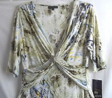 2X MLLE GABRIELLE OFF,GREEN WHITE SNAKE PRINT WRAP STYLE DRESS POLYESTER