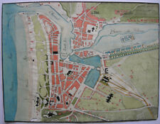 Dieppe Plan de Ville manuscrit Aquarelle Haute-Seine Normandie 1850