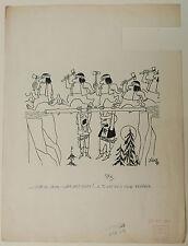 Dibujo Antiguo Tinta Ilustración Sc. Divertido JICKA Jacques Kalaydjian 1950