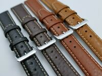NEW 18 20 22mm Padded Buffalo Grain Leather Watch Band strap Contrast Stitching