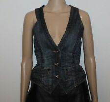 Blue Crinkle Denim ESPRIT Button Fitted Waist Length Casual Waistcoats Size M