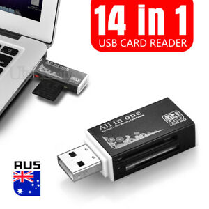 All in One Aluminium Multi Card Reader SDHC SDXC Micro SD Memory Stick M2 BLACK