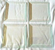 """Lot of 4 Clear Beveled Glass 4"""" inch Squares-Coaster, Display, Craft, Solder,Art"""
