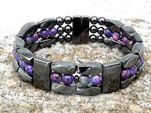 Men's Womens 100% Magnetic Hematite Bracelet Anklet Necklace Picasso Purple 3row