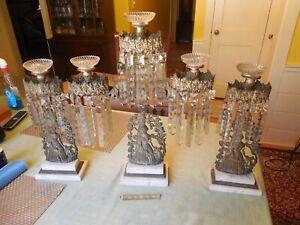Antique Girandole Brass Crystal Prism Candelabra Figural Set 3 Pcs Double Marble