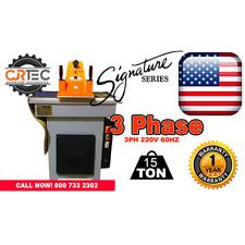 New 15 Ton 3 Phase Swing Arm Clicker Press Hydraulic Die Cutting Machine by Cjr