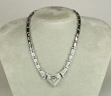 16 Inch 14K White Gold Almost 5.00 Carat Princess & Round Diamond Necklace