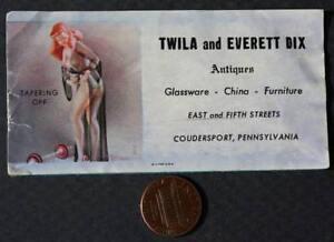 1940-50s Coudersport Pennsylvania Antique shop Pretty girl business card-CUTE!