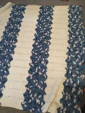 """Beautiful 59"""" X  55"""" Blue Striped Afghan Very Soft And Warm"""