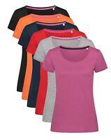 Femmes Coton Uni Col Rond Manches Courtes T-Shirt