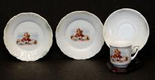 Antique GIRL w/ TEDDY BEAR DOLL Porcelain DEMITASSE TEA CUP & Saucer / GERMANY