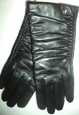 Adrenne Vittadini Ruched Cuffs100% Cashmere Lined Leather Gloves,Medium, Black