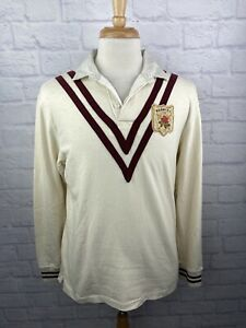 Vintage Polo Ralph Lauren Iconic Rugby Shirt K-Swiss Crest Shield Patch Men's LG