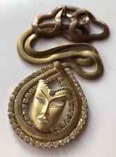 Vintage 80s Mask Kitsch Chunky Huge Statement  Gold Necklace