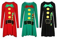 New Women Xmas Swing Flared Long Sleeve Ladies Flared Skater Top Dress Size 8-26