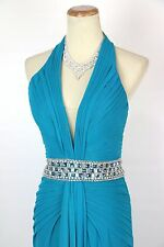 New Tony Bowls Authentic 115711 Teal Beaded Waist-Band Bridal Prom Formal Gown 8