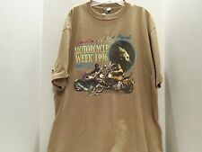 BIKE WEEK 1996 MYRTLE BEACH S.C. LEADER OF THE PACK T-SHIRT(XL)TAN- 2 SIDED-RARE