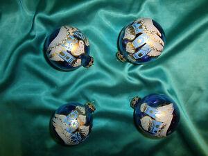 ~ 4 große alte Christbaumkugeln Glas blau gold Kirche Moschee Weihnachtskugeln ~