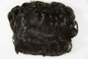 Dark Brown Brunette Monofilament Hand Tied Wavy Curly 6X9 Toupee